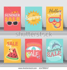 summer, holiday, vacation poster set. flat design. can be use for greeting and invitation card. background , backdrop. layout template in A4 size. vector illustration