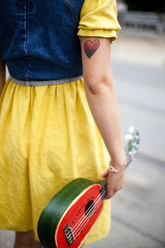 cute tattoo and guitar