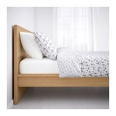 IKEA - MALM, Bed frame, high, Queen, Luröy, , Real wood veneer will make this bed age gracefully.Adjustable bed sides allow you to use mattresses of different thicknesses.16 slats of layer-glued birch adjust to your body weight and increase the suppleness of the mattress.