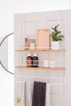 Urban Outfitters Over-The Door Tiered Storage Rack .great storage for small spaces. Bathroom Doors, Bathroom Shelves, Bathroom Organization, Bathroom Ideas, Bathroom Rack, Bathroom Remodeling, Bathroom Inspiration, Shower Ideas, Bathroom Baskets
