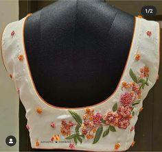Cutwork Blouse Designs, Kids Blouse Designs, Simple Blouse Designs, Blouse Neck Designs, Embroidery Suits Design, Flower Embroidery Designs, Hand Embroidery, Hand Work Blouse, Maggam Work Designs