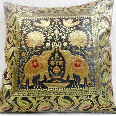 Black Indian Silk Brocade Pillow Cushion Cover Throw Ethnic Vintage Decor Art In Home Garden