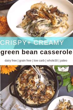 This dairy and gluten free green bean casserole is low carb and made with real, whole foods. No canned soup here. Delicious and decadent it will hit the spot and wow your holiday guests! Paleo Recipes, Low Carb Recipes, Whole Food Recipes, Paleo Meals, Simple Recipes, Ketogenic Recipes, Kitchen Recipes, Sweet Recipes, Cooking Recipes