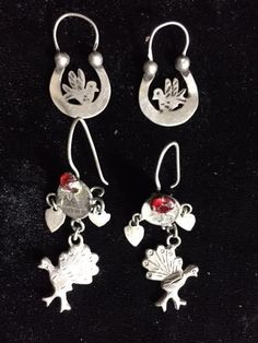 2 Pairs of Charming Antique Ethnic Mayan Guatemalan Silver Earrings