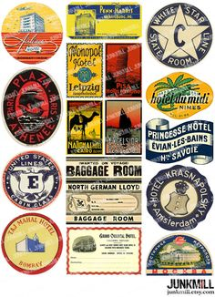 Vintage Travel Labels from Steamboats, Hotels & Europe Landmarks - inspiration logo - form interesting Vintage Luggage Tags, Vintage Labels, Vintage Ads, Etsy Vintage, Vintage Paper, Vintage Packaging, Luggage Stickers, Luggage Labels, Tampons