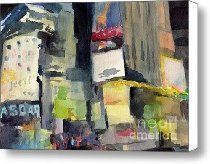 Billboards Times Square at Night Watercolor Painting of NYC Canvas Print / Canvas Art - Artist Be...