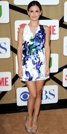 07/30/13: At the CBS/CW and Showtime 2013 Summer TCA Party, Rachel Bilson accessorized her sequined floral 3.1 Phillip Lim dress with silver ankle-strap peep-toes. #lookoftheday