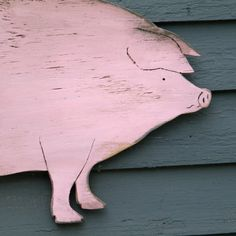 Piggy Wooden Sign Distressed Large Size Wood by SlippinSouthern, $79.00