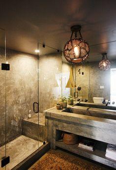 Stone bathroom with dim lights