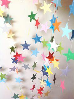 Star Garland – Party Decoration – Baby Shower – Nursery Decor – Birthday – Choose Your Length 9 – 20 Feet Star-Garland Party Dekoration Baby-Dusche Kinderzimmer Star Banner, Star Garland, Paper Crafts, Diy Crafts, 3d Paper, Star Party, Party Planning, Party Time, Nursery Decor