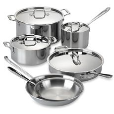 Become a cooking pro with the All-Clad® Stainless Steel 10-Piece Cookware Set.