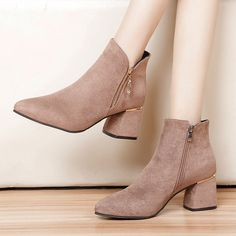 2020 Winter Women Ankle Boots Black Faux Suede Snow Shoes Chunky Heels – cuteshoeswear boots fall ankle dressed with ankle boots ankle boots outfit summer outfits boots ankle Ankle Boots Outfit Summer, Black Ankle Boots, Women's Dresses, Older Women Fashion, Martin Boots, Ankle Strap Sandals, Fashion Shoes, Fashion Top, Fashion Jewelry
