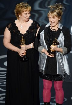 Les Mis (2012) | Julie Dartnell and Lisa Westcott accepting their Best Makeup and Hairstyling award on stage at the 2013 Oscars.
