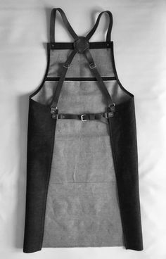 Selvedge denim and leather apron, cross back, silversmith crafter barber barista chef tattooist Leather Apron, Tan Leather, Barista, Barber Apron, Shop Apron, Work Aprons, Apron Designs, Leather Projects, Vegetable Tanned Leather