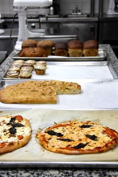 Focaccia, pizza, oatmeal bread, and lemon poppy seed muffins. (Day 45)