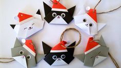Christmas Gift Cat Tags Set 6 Origami Handmade by JollyCards