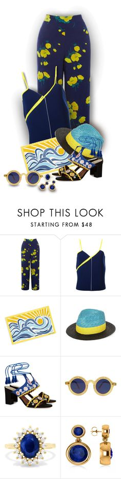 """Blue and Yellow - Contest!"" by sarahguo ❤ liked on Polyvore featuring Warehouse, Courrèges, Paul Smith, Tabitha Simmons, Jean-Paul Gaultier, Effy Jewelry, Allurez and wearitout"