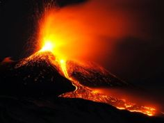 16 December 2013: Mt. Etna, Europe's tallest and most active volcano, spews lava during an eruption near the Sicilian town of Catania, Italy...