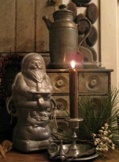 Old Prim Santa Chocolate Mold & Spice Cabinet...pine.