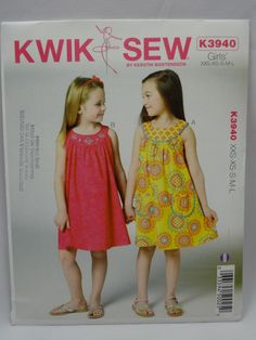 Kwik Sew 3940, Girls' Dress Pattern, Sewing Pattern, Size XXS, XS, S, M, L, New, Uncut by Allyssecondattic on Etsy
