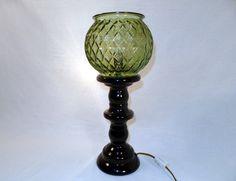 Avocado Glass Lamp  Globe Vase Bowl Upcycled  Vintage by SoEco