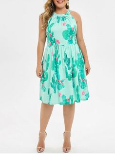 Floral Cactus Print Sleeveless Plus Size Dress - Medium Turquoise - Plus Size Maxi Dresses, Types Of Dresses, Plus Size Outfits, Plus Size Kleidung, Straight Dress, Cactus Print, Floral Maxi Dress, Women's Fashion Dresses, Types Of Sleeves