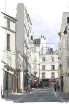 """Wall Mural """"paris, vector, walking - street near montmartre in paris"""" ✓ Easy Installation ✓ 365 Days Money Back Guarantee ✓ Browse other patterns from this collection!"""