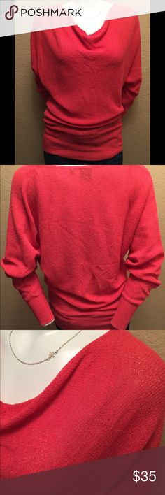 BLUE Saks Fifth Avenue Cowl Stretch Coral Shirt Beautiful BLUE Saks Fifth Avenue Cowl Neck Top! It is a nice dark coral color with a cowl neckline. Has a nice textured fabric with a lovely stretch. Can be worn also pulled to one side (shown in last photo). In great condition and looks great dressed up or down! Saks Fifth Avenue Tops