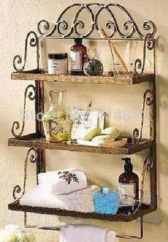 Best Wrought Iron Pretties Images On Pinterest Wrought Iron - Wrought iron bathroom wall shelves