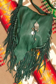 Deep Green Leather Fringed Bag by SoulLeatherStudio on Etsy