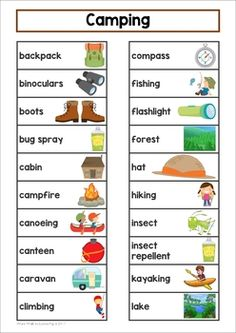 This packet includes large cards for the classroom wall and a small word list with pictures that you can put inside a binder and keep at your writing center. Camping List, Camping Games, Camping Activities, Camping Gear, Camping Equipment, Diy Camping, Camping Crafts, Preschool Camping Theme, Camping Room