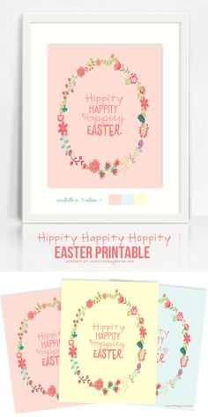Hippity Happity Hoppity Easter!  Adorable Easter Printable available in three different colors. www.livelaughrowe.com #easter #printable
