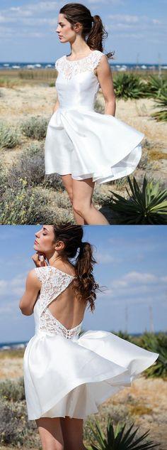 ivory short wedding dresses,lace beach bridal gowns,simple open back wedding dress