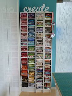 cd tower re-purposed for fat quarter fabric storage Sewing Room Storage, Sewing Room Organization, My Sewing Room, Craft Room Storage, Fabric Storage, Sewing Rooms, Organizing Ideas, Storage Shelves, Storage Ideas