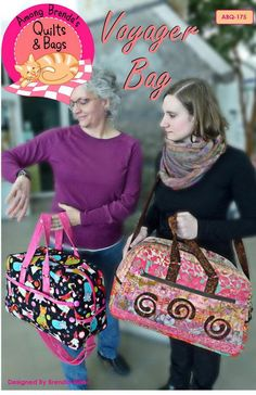 Travel Bag Pattern - Voyager Bag from Among Brenda's - AQB 175 - DIY Large enough for a weekend away. Duffle Bag Patterns, Tote Pattern, Bag Patterns To Sew, Sewing Patterns, Handbag Patterns, Sac Week End, Latest Bags, Quilted Bag, Handmade Bags