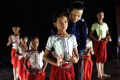 Dancing teacher. Apsara dance school in Phnom Penh suburbs.