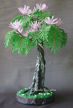альбиция из бисера, дерево из бисера, дерево из бисера своими руками