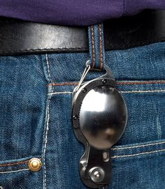 SporKnife - Stainless steel folding and locking fork, spoon and lightly serrated blade all in one. Hangs on your belt or key-ring with a handy quick release clip. For use when camping, eating your daily lunch at work, at home, or when traveling.