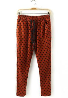 Orange Polka Dot Mid Waist Cotton Blend Pants