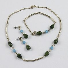 3 PC Vtg S Coventry Green  Aqua Blue & Goldtone Set Necklace Bracelet Earrings