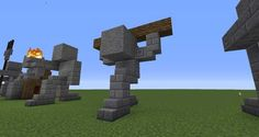 02 - Minecraft small statues for worlds easy to build Minecraft Temple, Minecraft Statues, Minecraft Structures, Minecraft Castle, Minecraft Medieval, Minecraft Plans, Minecraft Tutorial, Minecraft Blueprints, Minecraft Crafts