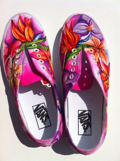 Tell me exactly what to paint and go strut your stuff! ***canvas shoes are highly recommended as the paint sticks well to the surface. Custom Painted Shoes, Painted Canvas Shoes, Painted Sneakers, Painted Clothes, Hand Painted Shoes, Custom Shoes, Painted Bags, Mehndi, Henna