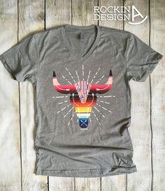 Southwestern Steer Skull v-neck unisex t shirt / by RockinAdesign graphic tee, Rockin A Design, boho, cowgirl, western, southwestern, desert, steer skull, serape, sarape, southwest,