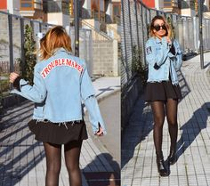 L A - High Heels Suicide Troublemaker Denim Jacket - YOU AIN'T NON' BUT A TROUBLEMAKER GIRL
