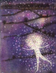 Elizabeth Harbour's illustration for 'Tam Snow' by Ted Hughes