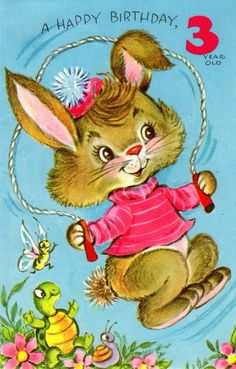 Child Birthday Card Bunny Rabbit For Three/ 3 Year Old 1960's Vintage. $ 3.00, via Etsy.