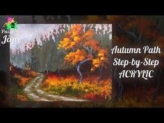 Autumn Path - Step by Step Acrylic Painting Tutorial Fall Canvas Painting, Rain Painting, Acrylic Painting Techniques, Painting Videos, Painting & Drawing, Canvas Art, Drawing Tips, Couple Painting, Acrylic Painting Tutorials
