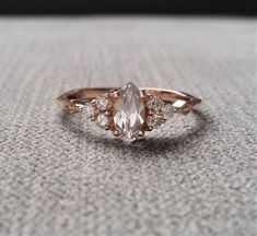 Etsy Antique Engagement Ring Victorian White Sapphire Marquise Diamond Bohemian Antique Filigree Delicate #ad