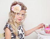 Flower Girl Headband, Pink, Taupe/Beige, Ivory and Brown Headband on Glitter Elastic