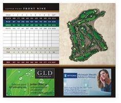 Example of a yardage book golf course map illustration for Bench craft company fraudsters